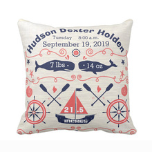 Personalized Nautical Navy Coral Boy Nursery Baby Birth Stat Throw Pillow Cover Decorative Pillow Case Sofa Seat Soft Pillowcase