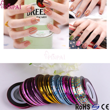 PinPai Top Quality 30 Colors Laser Paper Nail Art Line Gold/Silver Self-adhesive Decals Sticker Decorations Tips Wheel Wholesale(China)
