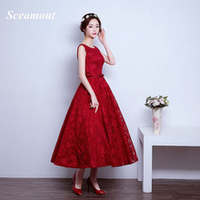 2017 Pretty Girl Red Lace Evening Dresses Lace up Back Tiered Graduation Party Dress Evening Gowns Tea Lengh Robe de Soiree(China)