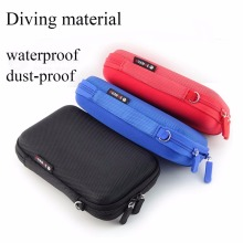 3 Color Mini Zipper Hard Headphone Case,Diving Leather Earphone Bag,Protective Usb Cable Organizer,Portable Earbuds Pouch box
