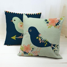 Hot Sales Cheap Linen Cushion Cover Hand Paint Flower Birds Throw Pillow Case On Sofa For Home Decoration Almofada Free Shipping(China)