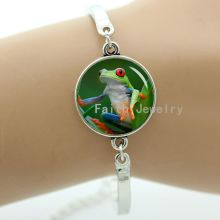 Cute tree frog bracelet vintage fashion women charms jewelry birds art picture handmade kids gifts idea T627