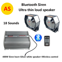 Amplifier Police Siren Metal Silver White Flat Speaker,400W Wireless Control with Mic Loudspeaker Electronic Siren for Cars 12V(China)
