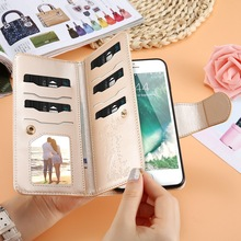 FLOVEME Leather Wallet Case For iPhone 7 6 6S Plus 5 5S SE Phone Cases Girl Makeup Mirror 9 Card Slots Stand Bag For iPhone 7 6