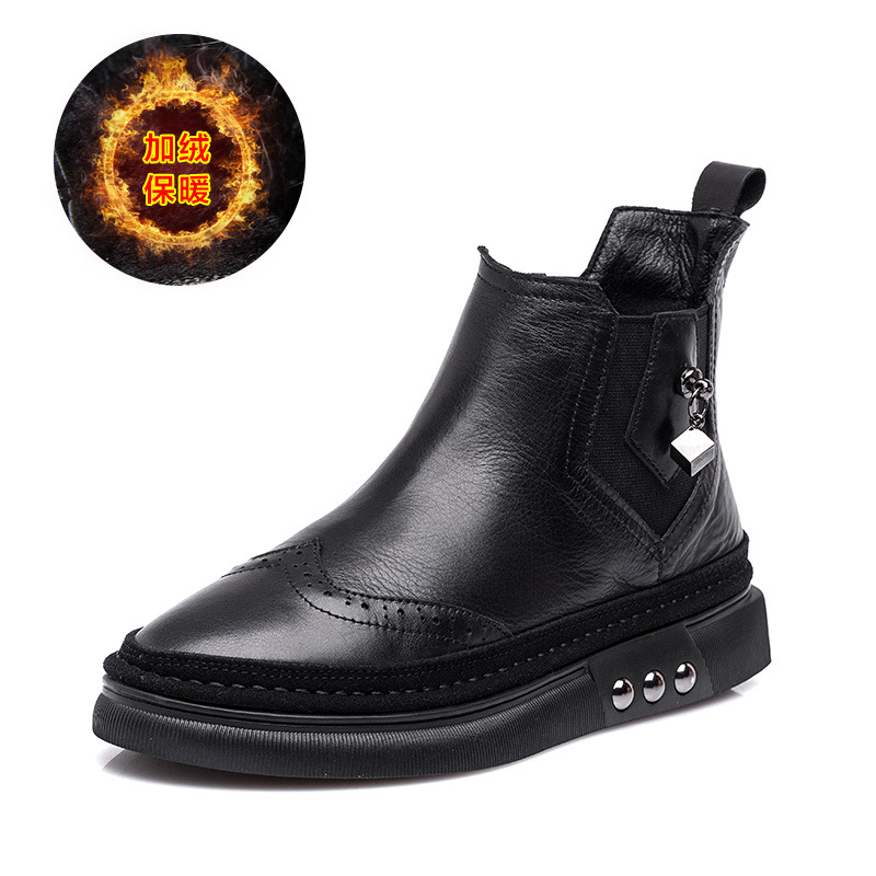 SWYIVY Genuine Leather Chelsea Boots Rivet 2018 Winter Warm Fur Snow Boots Woman Flat Lady Casual Shoes Snowboots Ankle Boots 40