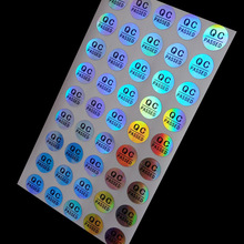 wholesales 500pcs/lot Round 10mm QC sticker lable custom label sticker adhensive QC PASSED Laser hologram stickers
