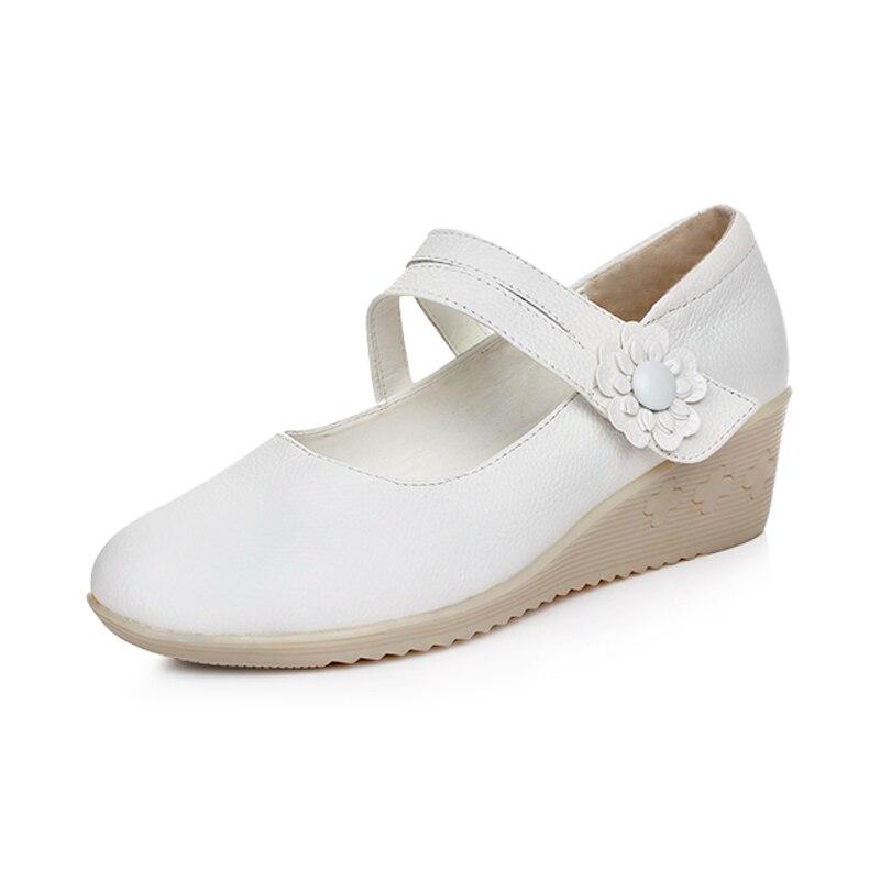 New Medium Heel White Nurse Shoes Women Pumps 2017 Breathable Platform Wedges Mary Jane Shoes Moccasins Women<br><br>Aliexpress