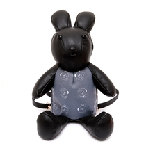 Women korean style black cartoon rabbit style Pu leather backpack cute lovely girl ladies daypack Girls Bag Female Backpacks