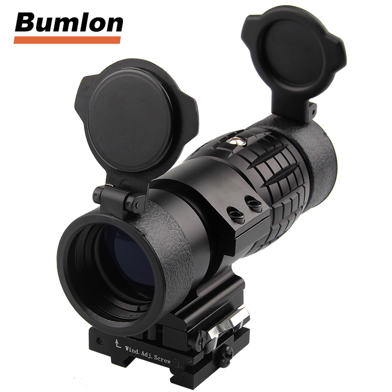 Tactical 30mm 3X Magnifier Scopes Optics Focus Adjusted Fits Red Dot Sight with Picatinny Weaver Rail Mount With Covers HT6-0067<br>