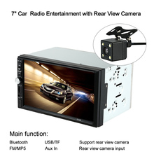 "7"" Universal 2 Din HD Touch Screen Car Radio MP5 Player Bluetooth Radio Entertainment Multimedia with Rear View Camera USB/TF"