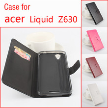 4 Colors PU Leather Flip Design Case For Acer Liquid Z630 5.5 Cell Phone Cover Skin Shell With Card Slot Holder Wallet Holster