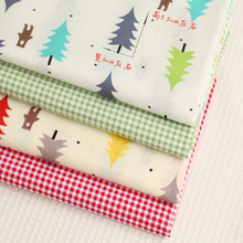50*160cm 4pcs/lot 100% Cotton twill cloth nordic wind pine check for DIY kids handwork clothing dress cushions tela fabric