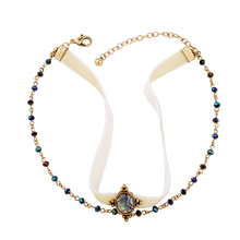 Colorful Beads Women Ribbon Choker Necklace Fashion Jewelry 2017 New Design Ethnic Necklace Accessories(China)
