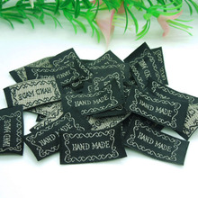 New Arrivals 300pcs Black ribbon label tag with embroidered Gray Color Handmade sign Garment Tag Accessories 33*15mm