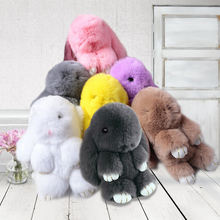 Cute Animal Genuine Rabbit Natural Fur Pom Pom Keychain Women Rabbit Key Chain Toy Doll Bag Car Key Ring Monster Gift K-242
