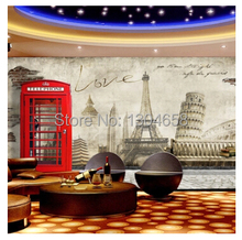Free shipping custom 3D mural retro Europe Paris London England style murals TV setting wall phone wallpaper(China)