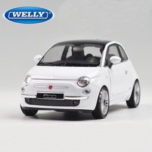 WELLY 1/24 Scale Italy 2007 Fiat 500 Diecast Metal Car Model Toy New In Box For Collection/Gift/Decoration/Kids