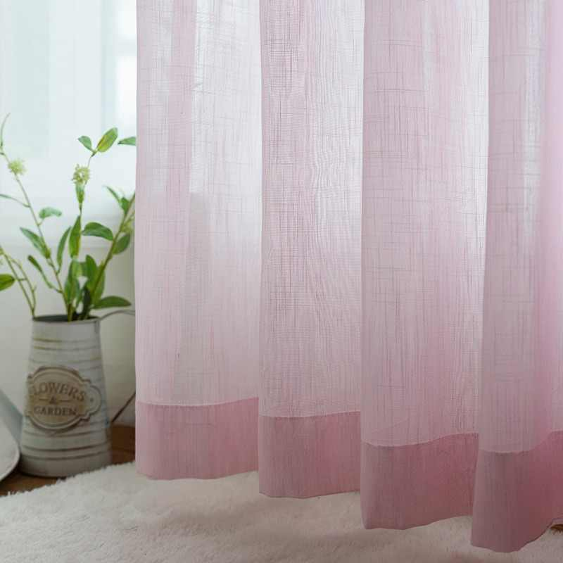 Fashion Pink Solid Faux Linen Tulle Sheer Curtains for Windows Living Room Kitchen Panel Cortinas Dormitorio Bay Window Su002*30
