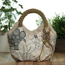Minch Weave Flower Printed Ladies' Tote Bag Vintage Handbag for Women Fashion Design Tassels Shoulder Bag