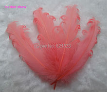 "50pcs/lot! Watermelon red Nagorie Goose Feathers, 5-7"",Loose Craft Feathers, Costume Design,Fascinator,Bridal Hair Piece(China)"
