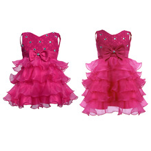 Summer Flower Girl Dress Tulle Wedding Dresses For Child Girls 9M-8Y Fluffy Kids Hot Pink Evening Gown Children's Girl Clothing