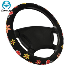 "CUTE STEERING WHEEL COVERS Beatles Flowers Fit Steering-Wheel 14-15"" (37-38.5CM) Car Accessories For Girls Female Personalized"