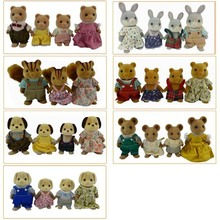 Limited Collection Sylvanian Families penguin rabbit mouse bear dog squirrel Family 4pcs Parents & Kids Set New without Box(China)