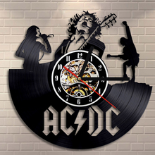 Free Shipping 1Piece AC/DC Brand New Classic Rock Vintage Room Vinyl Wall Clock Modern Creative Timepiece For Music Lover
