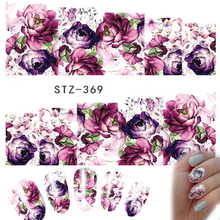 1 Sheets Nail Art Water Decals New 2017 Flower Rose Purples Designs for Women Full Cover Sticker Decorations STZ369