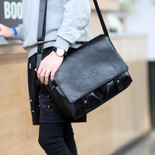 Men PU Leather Messenger Bags Fashion Trend School Traveling Casual Single Shoulder Satchel Male Cross Body Bag(China)