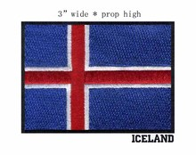 "Iceland 3"" wide embroidery flag patch  for red white blue with black outline/sewing supplies/motorcycle jacket"