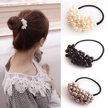 New Korean Women Girl's Headwear Accessories Rhinestone Imitation Pearls Beads Elastic Rubber Band Ties Ponytail Holder Scrunchy