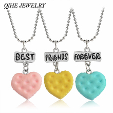 QIHE JEWELRY 3pcs/set Colorful Heart Shaped Cookie Pendant Best friends Forever Necklace Set Bead Chain Friendship Jewelry