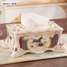 "11"" Tissue box Luxury Ivory ceramic tissue holder napkin box  removable paper box vintage royal living room decoration"