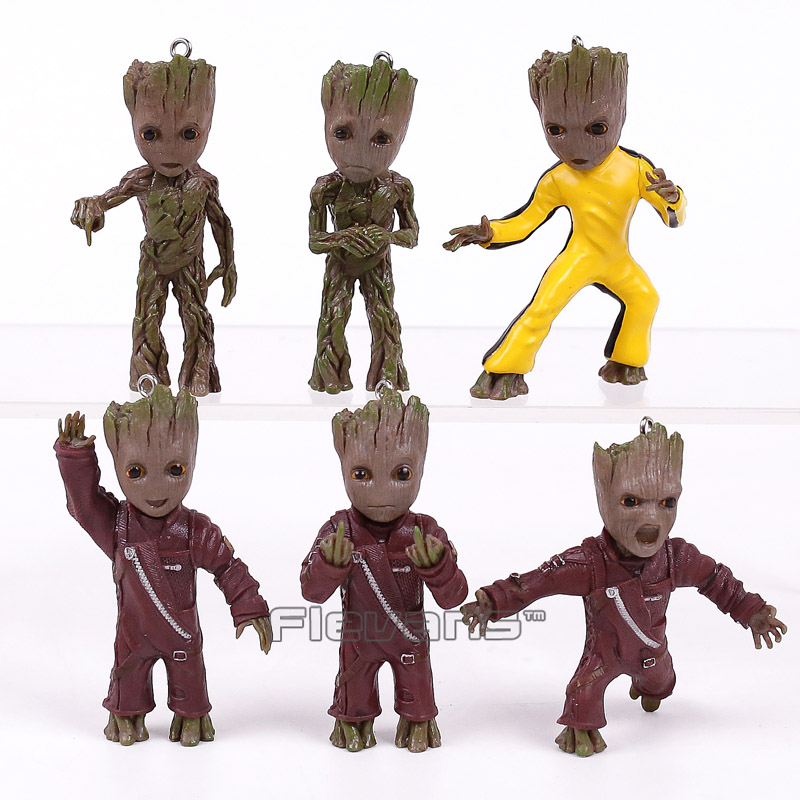 Guardians of the Galaxy 2 Baby Groot Keychains PVC Figures Collectible Model Toys 6pcs/set 7cm<br>