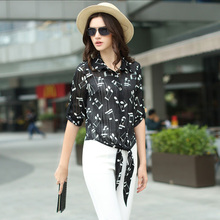 Shanto 2017 spring new music notes  chiffon printed shirts women turn down collar half sleeve casual blouse female tops 2006WW