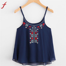 Chiffon Women sexy O neck Floral Embroidery Crop Top Camis Blouse Spaghetti Strap Shirts Ladies Summer Casual Blouse Blusa(China)