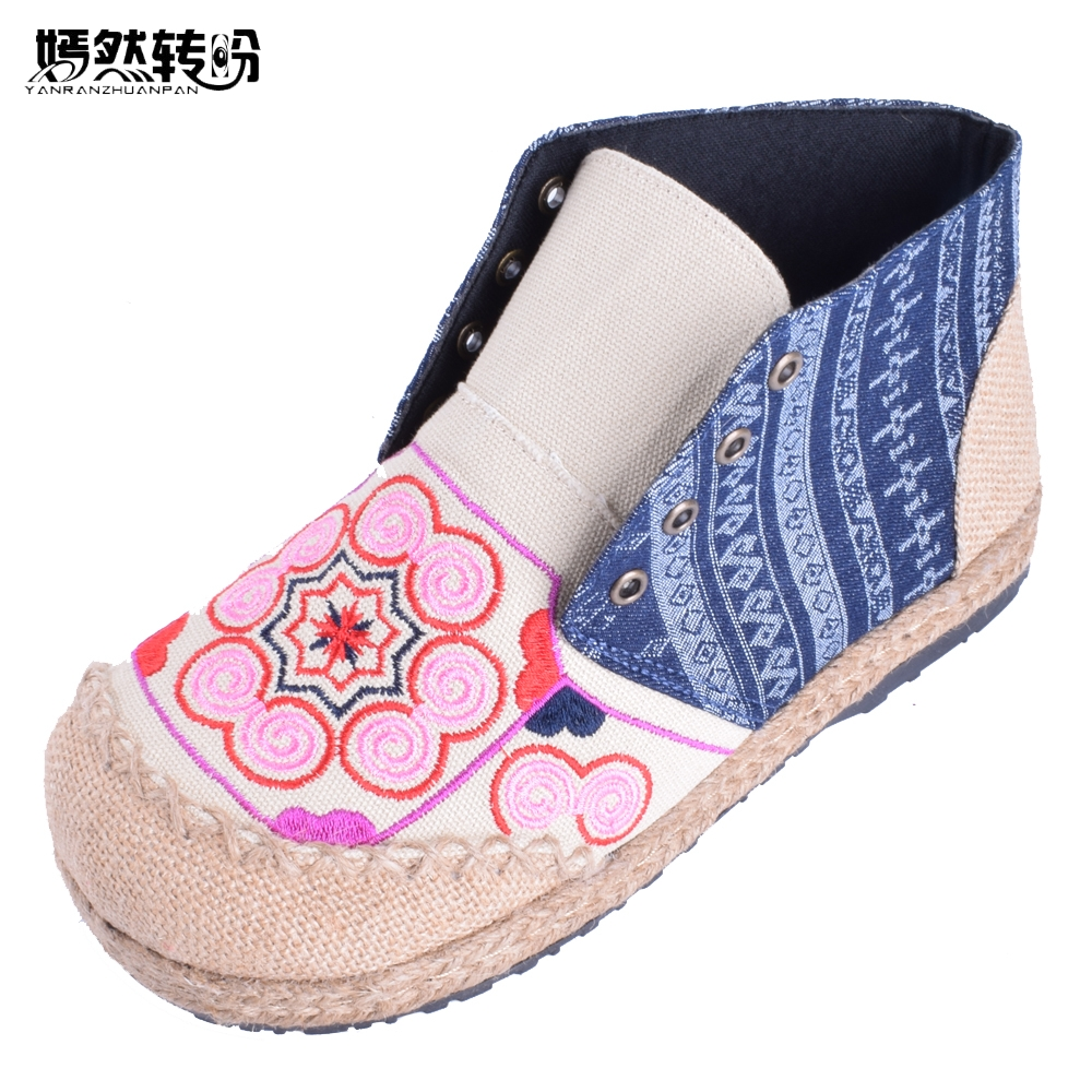Vintage Women Flats Shoes Thai Boho Cotton Linen Canvas Cloth National Handmade Woven Flat Embroidered Lace Up Shoes<br>
