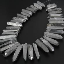 Big Silver Titanium Quartz Graduated Stick Point Pendants strand,Large Rough Crystals Gems Tusk Spike Bead Necklace Jewelry Bulk(China)