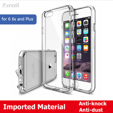 Kerzzil PC Hard Back + Soft Clear TPU Frame Phone Case For iPhone 6 6s 7 & 7 Plus Crystal Transparent Back Cover With Dust Plug
