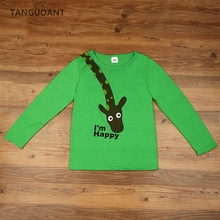 TANGUOANT t-shirts, cotton long sleeve children t shirts, cute animal cartoon t-shirt, candy color bottoming t shirt, nova kids