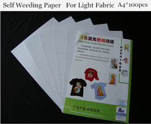 (A4*100pcs) Self Weeding Paper Light Color Laser Heat Transfer Paper For T shirt Thermal Transfers Papel Used on Any Fabric