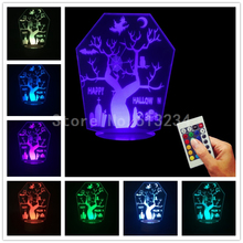 Free Shipping 4 Pieces Hallowmas Decor 3D Light Edge Lit Signs Horror Plexiglass USB Remote Controlled Table Lamp Halloween Gift