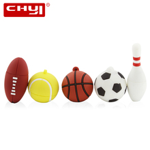 Creative Sports Ball USB Flash Drive 8GB 16GB 32GB 64GB Pen Drive Football Basketball Tennis Blowing Rugby Memory Stick Pendrive(China)