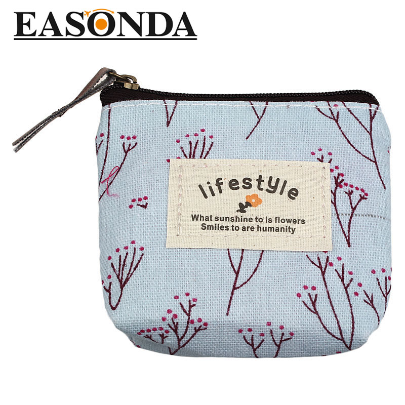Women Coin Purses Girl love Pastoral Floral canvas Small Purse Zip Wallet Lady Coin Case Bag Handbag Key Holder<br><br>Aliexpress