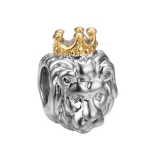 free shipping 1pc silver and gold lion king of jungle european big hole bead CHARM Fits European Pandora Charm Bracelets A009