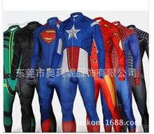 Spiderman Superman Iron Man Captain America Bike riding clothes super hero cosplay carniva costume men halloween High quality