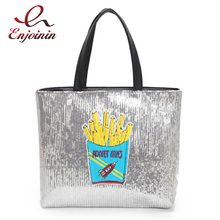New arrival fashion sequins design french fries pattern pu leather casual female totes handbag shopping bag purse 2 colors(China)