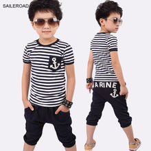 summer navy striped children baby clothing suits boys t shirt and the pants cloting suits for 2-6Years Old boys suits SAILEROAD