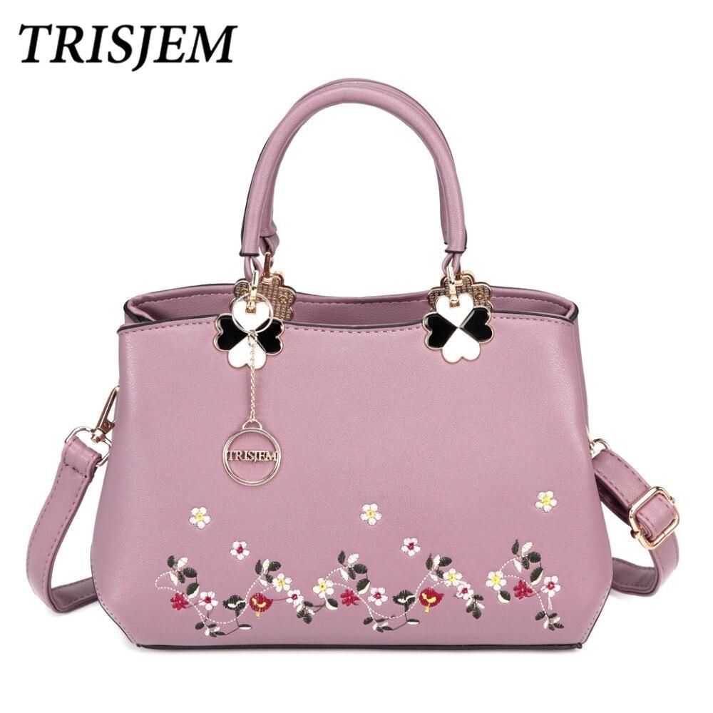TRISJEM Women Small Embroidery Flower Handbag Fashion Brand Crossbody Bags Sac a Main Femme De Marque Luxe Cuir 2017 Totes<br>